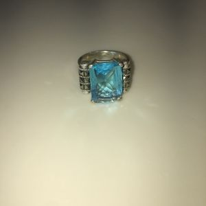 Jewelry - Vintage Cocktail Cut Glass Aquamarine Silver Ring